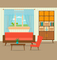 living room interior design in flat style vector image vector image