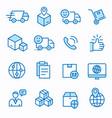 logistics flat line icon set vector image vector image