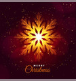 merry christmas glowing snowflake festival card vector image