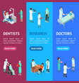 nurses attending patients banner vecrtical set vector image vector image