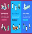 nurses attending patients banner vecrtical set vector image vector image