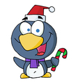 Penguin Holding Candy Cane vector image