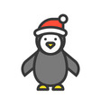penguin wearing santa hat merry christmas theme vector image vector image