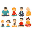 people meditating and relaxing in yoga lotus vector image vector image
