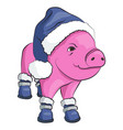 pig in a blue santa claus hat and shoes isolated vector image vector image