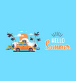 retro car with luggage on roof tropical sunset vector image vector image