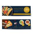 set food voucher discount template design vector image vector image