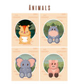 set of cute animals cards vector image