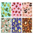 set seamless patterns with cute kawaii food vector image