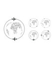 set simple traveling icons around world vector image