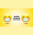 social distancing face mask icon emotion vector image vector image