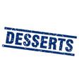 square grunge blue desserts stamp vector image vector image