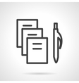 Stationery simple black line icon vector image