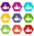 submarine ship icons set 9 vector image vector image
