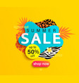 summer sale banner with animal print vector image vector image