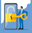 thief or hacker use key to open smartphone vector image