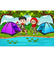 two children camping scene vector image vector image