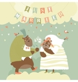 Two Lovely Bears Just Married vector image vector image