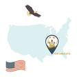 usa map with new orleans pin travel concept vector image vector image