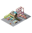 warehouse with cargo cars 3d isometric vector image vector image