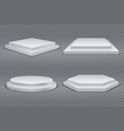 white podiums round and square 3d empty podium vector image vector image