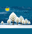 winter landscape with many trees vector image