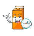 with clock package juice character cartoon vector image
