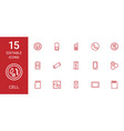 15 cell icons vector image vector image