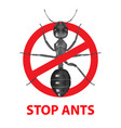 ant under red ban mark vector image vector image