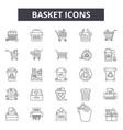 basket line icons signs set outline vector image