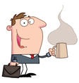 Businessman Holds Cup Of Coffee vector image vector image
