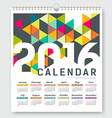 Calendar 2016 colorful triangle geometric vector image