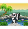 Cartoon skunk presenting on the rock vector image vector image