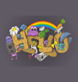 cartoon style hello word with cute monsters vector image vector image
