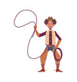 cowboy character american ranger with lasso vector image