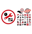 Date and Time Setup Flat Icon with Bonus vector image vector image