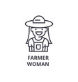 farmer woman line icon outline sign linear vector image vector image