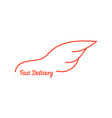 fast delivery with wing like car vector image vector image