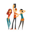 group of happy young people taking selfie photo vector image vector image