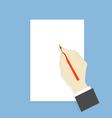 Hand with pencil and white sheet of paper vector image vector image