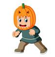 happy kid wearing scarecrow costume vector image