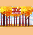 hello autumn autumn alley path in the park fall vector image