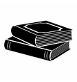 Horizontal stack of two books black simple icon vector image