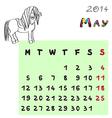 horse calendar 2014 may vector image vector image