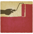houses painting hand with paint roller on vintage vector image vector image