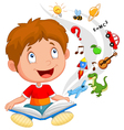 Little boy reading book education concept vector image