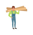 male professional carpenter holding wooden planks vector image vector image