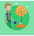 Man watering financial tree vector image vector image