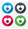 Medical heart sign icon Cross symbol vector image