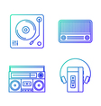 Retro music player outline icon set vector image